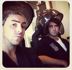 """Just a couple of manly bros getting their hair did"" From Alex Gaskarth's Instagram"