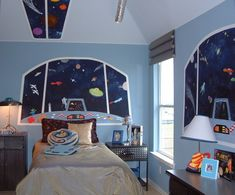 Unique idea for a space room - instead of the room being outer space, it's like you're looking through rocket windows