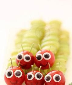 ~ Very Hungry Caterpillars ~     Big creepy crawly red headed caterpillars was the theme   of our fruit platter today .My lil one is ...
