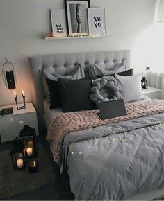 Image about pink in ▪ bedroom inspiration ▪ by lara oz. Teen Bedroom Designs, Cute Bedroom Ideas, Room Ideas Bedroom, Small Room Bedroom, Home Decor Bedroom, Bedroom Ideas For Women, Bedroom Ideas For Small Rooms For Adults, Silver Bedroom Decor, Black Room Decor