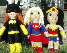 Batgirl, Supergirl, and Wonder Woman inspired crocheted dolls set (made to order) inspired by DC Comics