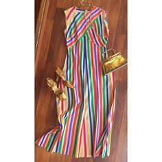 """Are you ready for Oscar night? #1960s #accessocraft necklace - $30 #60s #rainbow #maxidress - 30"""" waist sz. M - $55 60s #goldtone #purse - $25 #1950s #gold #heels - sz. 7 - $40 BE SURE TO COMMENT//DM FOR DETAILS  PURCHASE #60sjewelry #necklace #vootd #vintage #luckydrygoods #60sfashion #60sstyle #oscarnight #oscarnight2016"""