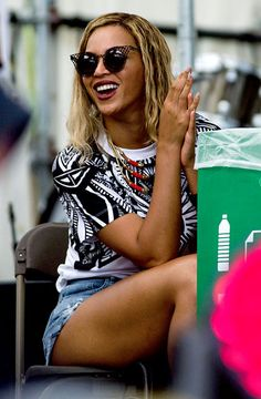 Beyonce cheered on sister Solange's performance at the Made in America Festival in Philadelphia Sept. 2.