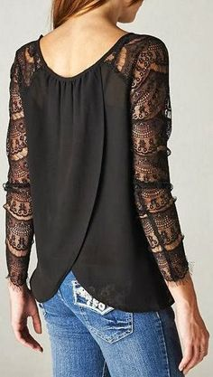 Black Lace Shirt draping on the back and the lace sleeves. Lingerie Look, Kleidung Design, Look Fashion, Womens Fashion, Jeans Fashion, Fashion Black, Fashion Outfits, Fashion Weeks, Paris Fashion
