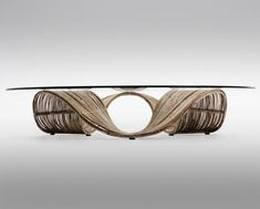 Filipino furniture designer Vito Selma has created artistic pieces of furniture called Baud. The undulating design lines of this wooden furniture set captures the motion of waves, inducing a relaxing feeling of vacation. Rattan Furniture, Living Furniture, Unique Furniture, Furniture Design, Willow Furniture, Glass Furniture, Outdoor Furniture, Fine Furniture, Contemporary Furniture