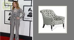 Jessi Alexander or Ralph Lauren …. who wore it better? Def Ralph … This Mayfair Chair is Rocking the Stripes!!!! #grammys2014 #whoworeitbetter