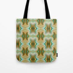 Blue-green and Brown pattern Tote Bag by Saribelle Inspirational Art | Society6
