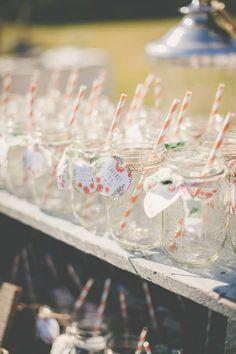 super cute labels on mason jars. See the rest of this diy wedding here. http://www.weddingchicks.com/2013/09/11/vintage-diy-wedding-3/