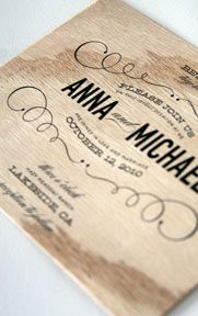 it's an invite on wood!