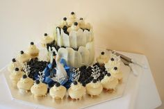 White Chocolate Mudcake and fresh Blueberries. Wedding cake for a friend.