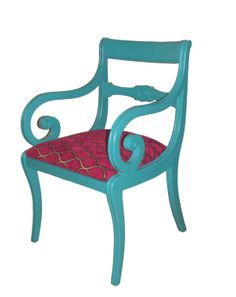 Turquoise & Magenta Wooden Arm Chair – FleaPop – Buy and sell home decor, furniture and antiques