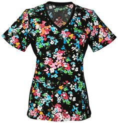 Flexibles by Cherokee V-Neck Knit Panel Scrub Top in 'Petal Pizzazz' from Cherokee Scrubs at Cherokee 4 Less