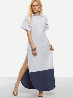 Fabric: Fabric has no stretch Season: Summer Type: Shirt Pattern Type: Color Block Sleeve Length: Short Sleeve Color: Multicolor Dresses Length: Maxi Style: Casual Material: Cotton Neckline: Collar Si