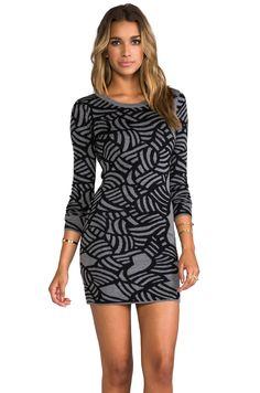 Diane von Furstenberg Farley Dress in Slate Grey/Black