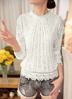 Cheap feminine blouses, Buy Quality blouse women directly from China top blouse Suppliers: 2016 New Summer Ladies White Blusas Women's Long Sleeve Chiffon Lace Crochet Tops Blouses Women Clothing Feminine Blouse Lingerie Look, Lace Decor, Embroidered Lace, Mode Style, White Long Sleeve, Blouses For Women, Womens Fashion, Style Fashion, Latest Fashion