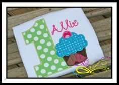 Cupcake Birthday Number Applique with Monogram by AprylEatman, $20.00