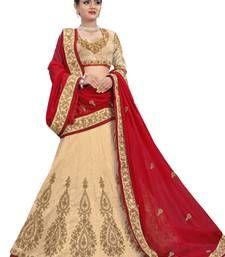 Beige lehenga online at Mirraw.com