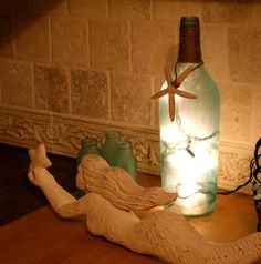 Seaglass Upcycled Lighted Wine Bottle by TheSeasideVineyard