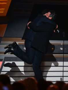 Luke Bryan & Blake Shelton upon luke hearing he won Entertainer of the Year!!!