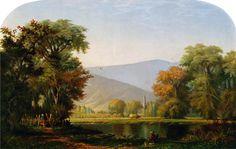 Landscape with Lake, Fisherman_Edwin Deakin_1879