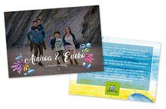 Tarjetón de la boda de Ainhoa y Eneko. Colaboración con Aspanovas