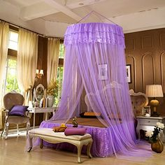CdyBox Round Lace Curtain Hanging Ceiling Princess Mosquito Net Dome Bed Canopy Netting (Purple) CdyBox