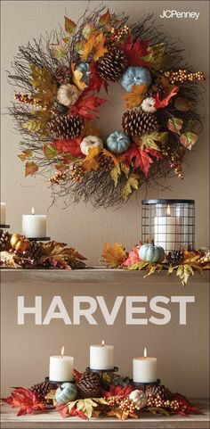 Tap to shop!// Ah, Fall is in the air! And nothing says true holiday decor like candles, autumn foliage, and a festive pumpkin & pinecone wreath worth a bargain. Because your home deserves a little fall splendor.