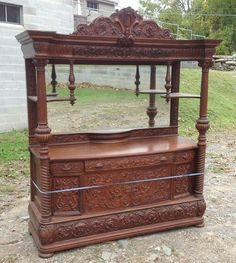 Victorian Furniture, Vintage Furniture, Antique Sideboard, Beveled Glass, Hoods, Carving, Antiques, Table, Home Decor