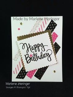 StampinUp birthday card made by Marlene Heringer. StampinUp birthday card made by Marlene Heringer. The post StampinUp birthday card made by Marlene Heringer. Birthday Cards For Women, Handmade Birthday Cards, Happy Birthday Cards, Birthday Greetings, Card Birthday, Birthday Wishes, Washi Tape Cards, Masculine Birthday Cards, Masculine Cards