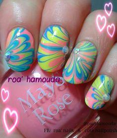 39 Ideas For Nails Pastel Spring Nailart Nail Polish Designs, Nail Art Designs, Nail Garden, Water Marble Nail Art, Nail Mania, Edge Nails, Pastel Nails, Pastel Art, Pedicure Designs