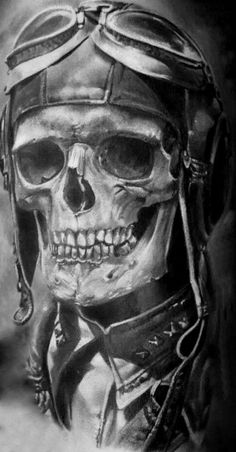 Skull Tattoo Ideas Schädel Tattoo Ideen This i Biker Tattoos, Skull Tattoos, Black Tattoos, Sleeve Tattoos, Pilot Tattoo, Skull Reference, Totenkopf Tattoos, Military Drawings, Skull Pictures