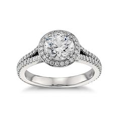 Split Shank Halo Cubic Zirconia Engagement Ring In 14k White Gold Plated Over…