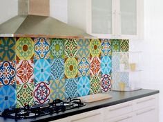 Tile decals SET OF 15 tile stickers for kitchen backsplash tiles colorful Moroccan tiles vintage style vinyl stickers, bathroom decal by stickdecor on Etsy https://www.etsy.com/uk/listing/233259020/tile-decals-set-of-15-tile-stickers-for