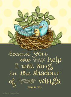 Shadow of His Wings Psalm 37 Scripture por karladornacher en Etsy, $14.00