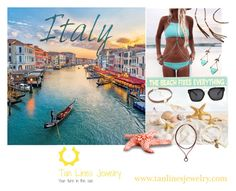 """Travel To Italy Wearing Beachwear Jewelry, Tan Lines Jewelry"" by freida-adams ❤ liked on Polyvore"
