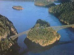 Aerial view of Deception Pass Bridge, Whidbey Island, WA