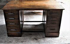 Beautiful piece of english oak, working lock & key, 8 drawers, large open work space, very sleek. Office Desk, Corner Desk, Furniture, Home Decor, Corner Table, Desk Office, Decoration Home, Desk, Room Decor