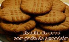Receita fit de biscoito (cookie) de coco com pasta de amendoim para a sua dieta.