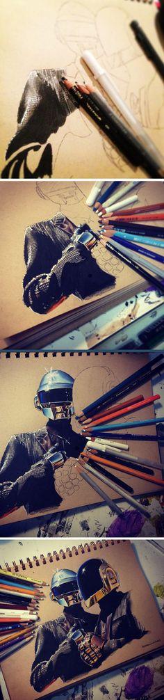 An amazing Daft Punk portrait… - amazing pencil work! Geez!