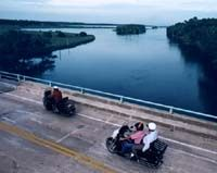The Loop begins with a northerly trek at the foot of the Granada Bridge on John Anderson Drive in Ormond Beach. Going North, riders are greeted by a cathedral of trees up to the Highbridge Road where they hang a left (to go west) and go over the bridge and the Intracoastal Waterway (the Halifax River). There are several places to stop along the way and just enjoy the Florida countryside.   Visit www.OfficialBikeWeek.com