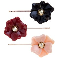 3 Pack Black Red Pink Flower Hair Slides ($6.41) ❤ liked on Polyvore