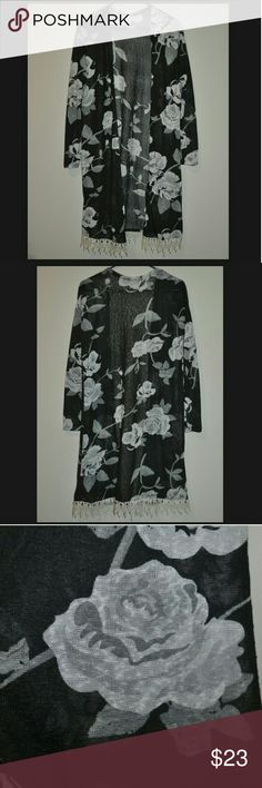 Black Grey Floral Crochet Cardigan NWOT nwot-never worn / black with grey flowers / cream crochet trim on bottom / no size tag, fits a small Tops