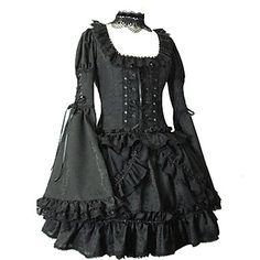 Longue Flare manches courtes en coton noir robe lolita gothique – USD $ 129.99