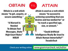 The difference between OBTAIN and ATTAIN: