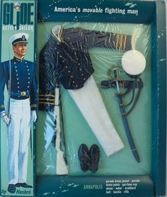 The Annapolis Cadet features a beautiful uniform and a saber, scabbard, and sword belt that can be tough to find. Vintage Toys 1960s, 1960s Toys, Retro Toys, Gi Joe, Best Memories, Childhood Memories, Military Humor, Military Uniforms, Dollhouse Furniture Kits