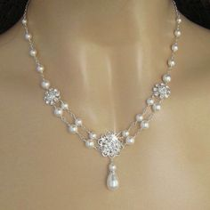 Pearl Necklace  Crystal Flower and Pearl Bridal by JaniceMarie, $58.00