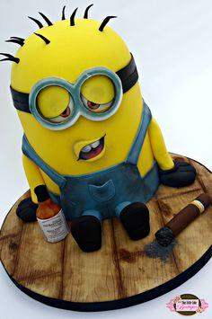 minion, drunk minion, balvenie whisky, cigars, minion cake, birthday cake, boys cake, mens cake, fun minion, hungover minion, tlcb, that little cake boutique, vanilla madiera,