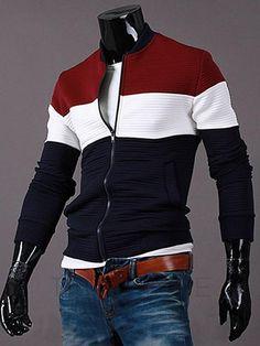 AdoreWe - tidestore Three Colors Block Zipper Up Mens Jacket - AdoreWe.com