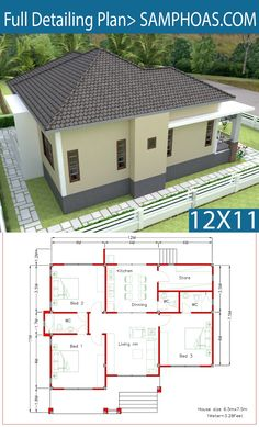 Interior Design Plan with Full Plan - SamPhoas Plan House Layout Plans, Bungalow House Plans, Bungalow House Design, Dream House Plans, House Layouts, House Floor Plans, Simple House Design, Minimalist House Design, Modern House Design