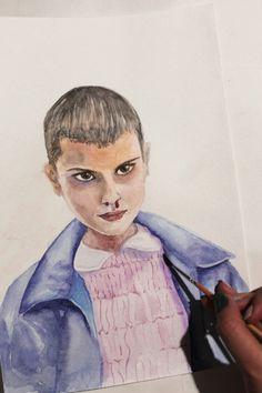 Eleven – Stranger things by Lily Gal. Millie Bobby Brown. Watercolor. Aquarelle. Fan art. Очень странные дела. Одиннадцать. Акварель. Портрет.